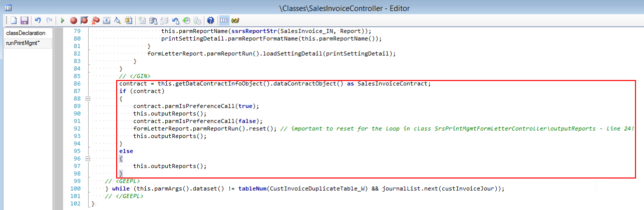 Modification in \Classes\SalesInvoiceController\runPrintMgmt