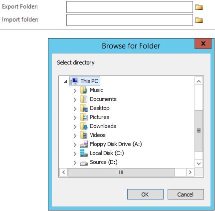 Browse for Folder dialog on form