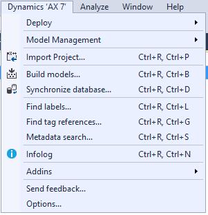 VS AX7 synchronize database menu