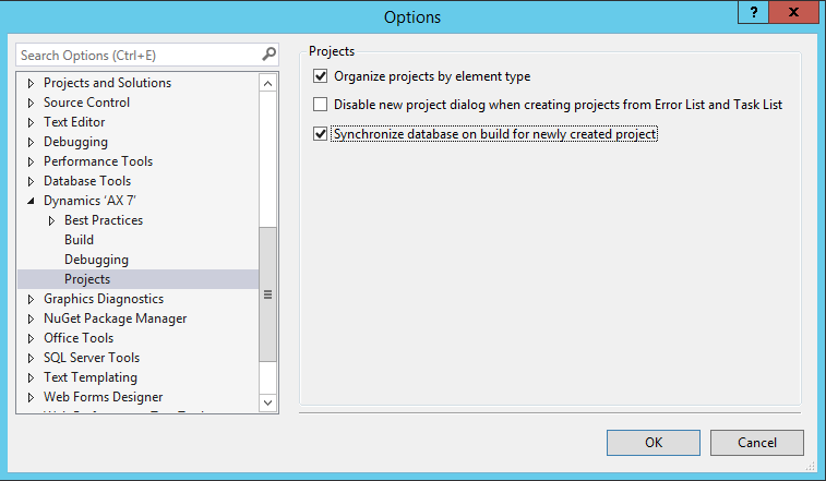 VS AX7 sync newly projects on build