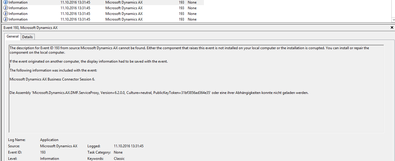 AX Event log error source missing